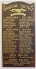 Plaque Listing Hingham Residents Killed in Action from World War I to the Vietnam War
