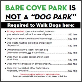 Bare Cove Park Requirements Sign with Rules to Read