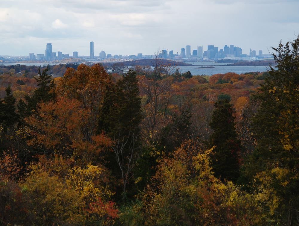 View of downtown Boston from Weir River Farm 2