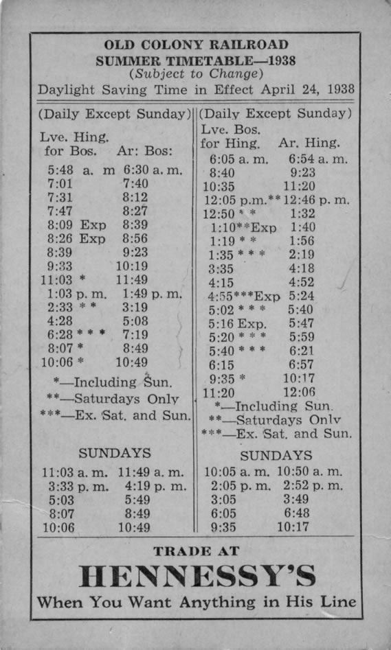 Old Colony Railroad Summer Timetable 1938